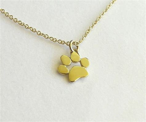 paw necklace paw print necklace pendant 14k gold necklace solid gold