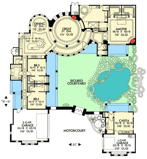 courtyard plan with guest casita 16312md 1st floor