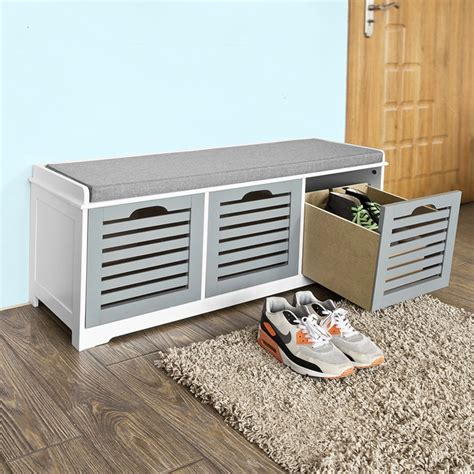 sobuy 174 storage bench with 3 drawers shoe cabinet with