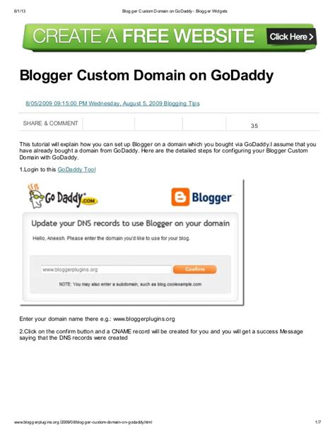 blogger custom domain blogger custom domain on go daddy blogger widgets