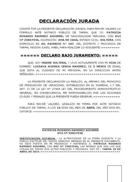declaracion jurada puerto rico declaraci 243 n jurada de madre soltera de con una hija uy