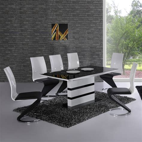 Extending Black Glass Dining Table And 6 Chairs Set Furnitureinfashion Is Offering Affordable Arctic White Extending Black Glass Dining Table