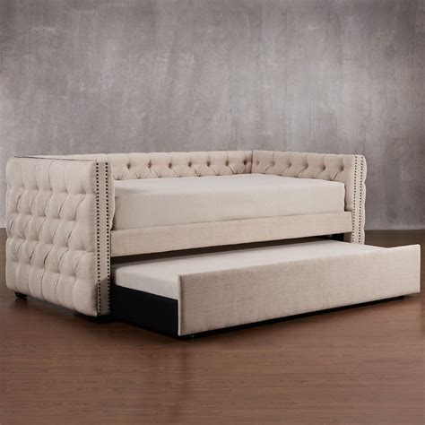 Tufted Daybed With Trundle Homelegance Kenswick Tufted Upholstered Daybed With Trundle Daybeds At Hayneedle