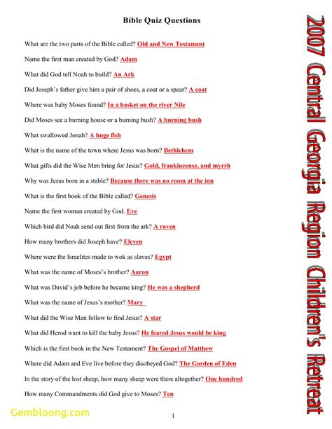 Printable Bible Quiz beautiful printable bible trivia questions downloadtarget