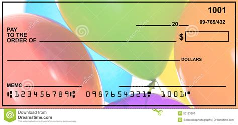 Check Your Own Background Blank Personal Check Stock Photo Image 50193307