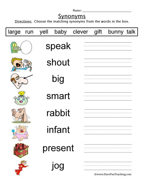 Synonym Worksheets by Synonym Worksheets Teaching