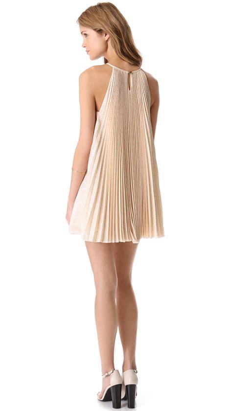 Grey Pleated 2pcs Dress porter grey pleated trapeze dress in lyst