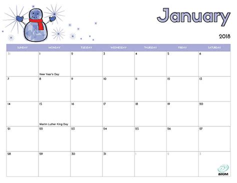 2018 Printable Calendars For Kids Calendar Template 2018 Free Preschool Calendar Templates 2018