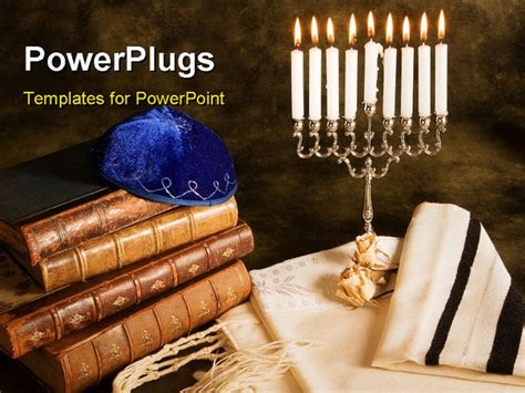 powerpoint themes judaism bible prayer shawl jewish cap and nine candle menorah
