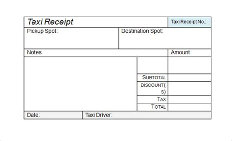 receipt template taxi 9 sle receipts sle templates