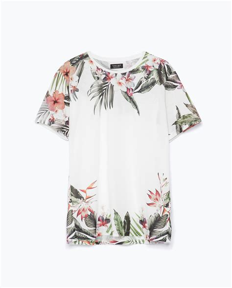 Zara Shirt Flower zara flowers t shirt in white for lyst