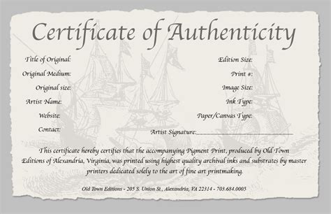certificate of authenticity of a print