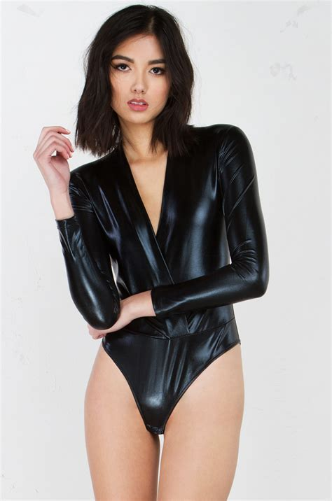 metallic long sleeve bodysuit  black  gold