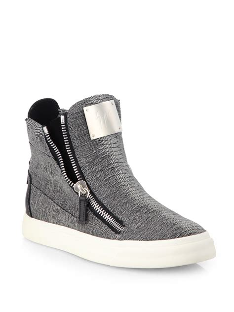 womens high top sneakers part 1 giuseppe zanotti lizard embossed laceless sneakers in