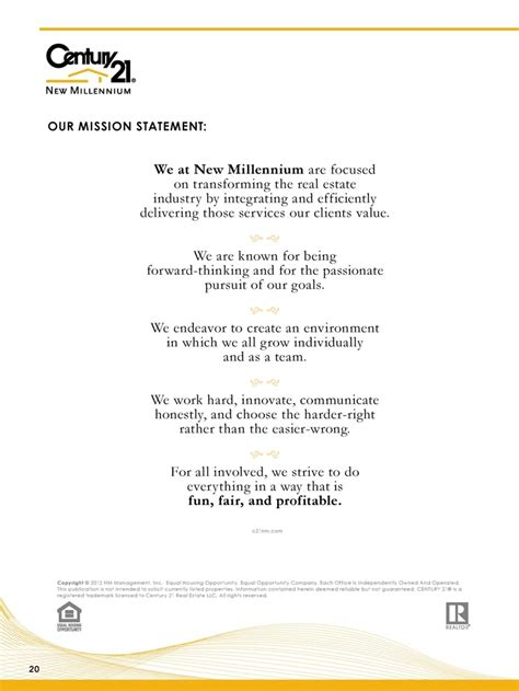 23 Best Century 21 New Millennium Images On Pinterest Presentation Website And Real Estate Real Estate Mission Statement Template