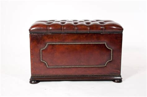 antique leather ottoman antique leather upholstered ottoman for sale at 1stdibs