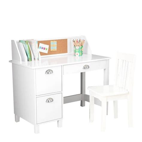 Kidkraft Kids Writing Desk And Chair In White 26704 Childs White Desk And Chair