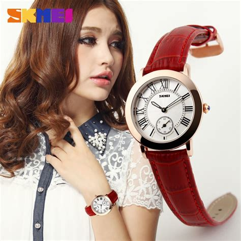 Skmei Fashion Casual Leather Water Resistant jam tangan wanita skmei fashion casual leather