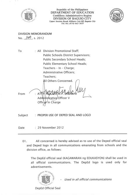 Deped Official Letterhead Proper Use Of Deped Seal And Logo Deped Baguio City Depedpines
