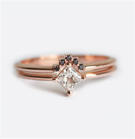 dainty ring set princess engagement ring