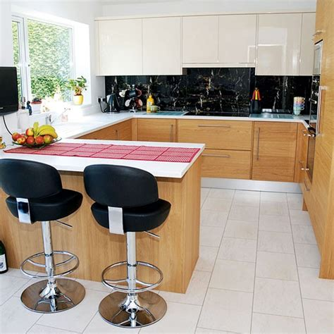kitchen layout breakfast bar compact oak kitchen with breakfast bar small kitchen
