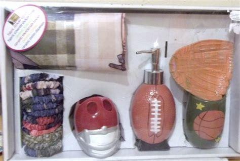 sports theme bathroom curtain set football