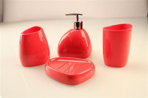 red toothbrush holder bathroom accessories 4pcs set acrylic bathroom accessories sets toothbrush