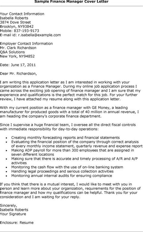 Cover Letter Sle Finance Manager Position Cover Letter For A Finance 9529