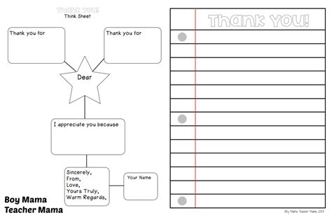 Thank You Letter Writing Template end of the year writing activities boy
