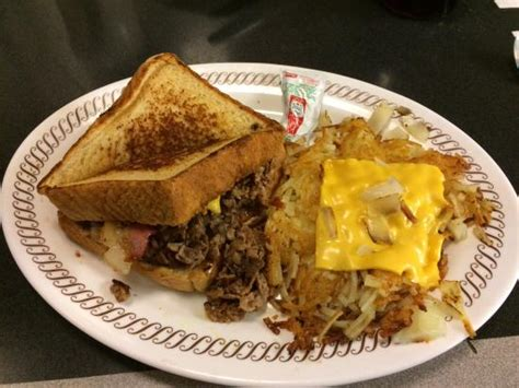 waffle house in orlando bacon cheesesteak on texas toast with hashbrowns picture of waffle house orlando