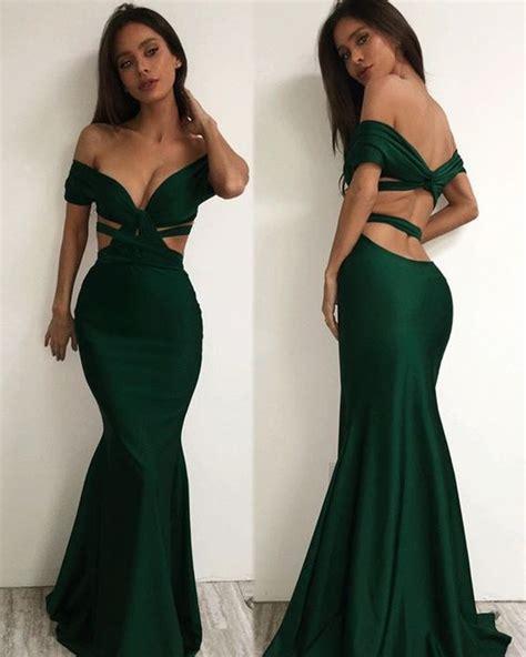 Dress Green Black black mermaid evening dresses green black prom dress cutout dress formal