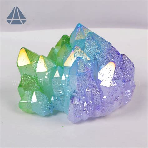 aura crystals rough bicolor and tricolor aura quartz crystal cluster