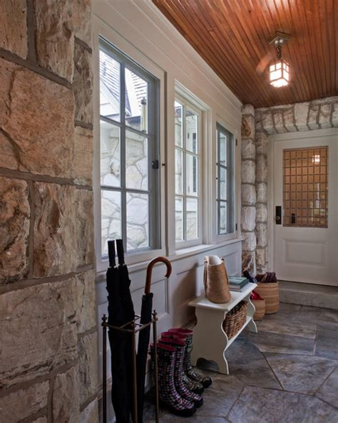 angled garage with mudroom between screened porch off bkfst for entry hall mudroom rustic entry boston by