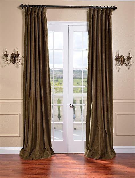 olive color curtains burnt olive vintage cotton velvet curtains drapes ebay