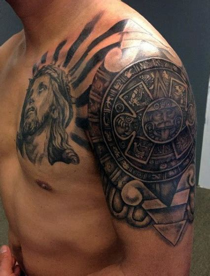 upper arm sleeve tattoos for men 80 aztec tattoos for ancient tribal and warrior designs