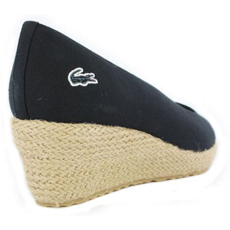 lacoste calavante canvas womens new wedge shoes black ebay