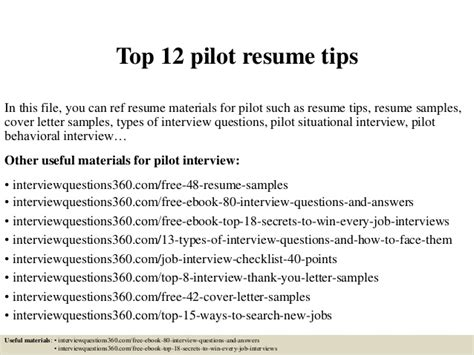 Pilot Resume Sles Cover Letter Top 12 Pilot Resume Tips