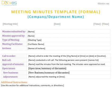 formal meeting minutes template gse bookbinder co
