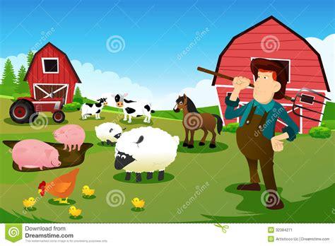 grange des animaux agriculteur et tracteur dans une ferme avec les animaux et