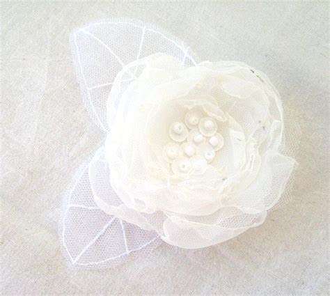 hair flower clip bridal wedding flower girl tulle silk wedding hair accessory white ivory mix organza flower