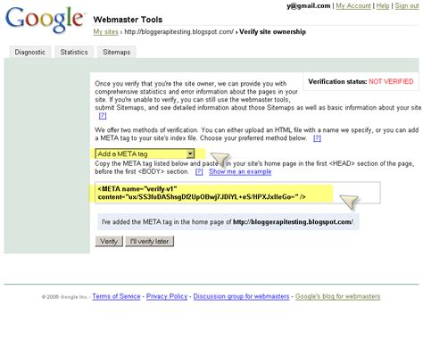 blogger account linux lore google webmaster tools and howto verify your