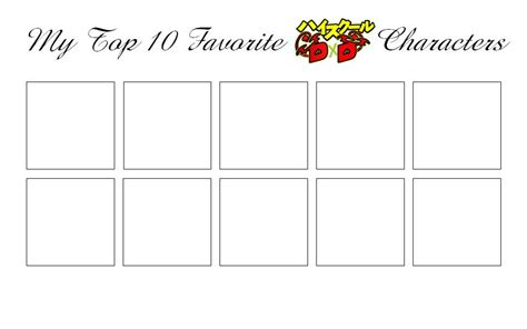 top 10 list template www imgkid the image kid has it my top 10 high school dxd characters meme blank by