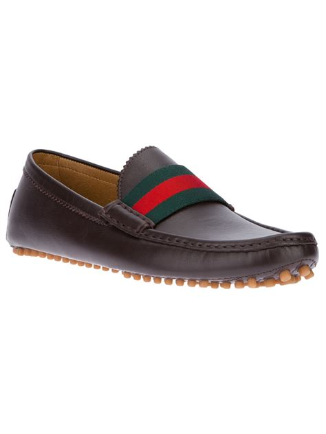 mens gucci loafers sale gucci striped loafer in brown for lyst