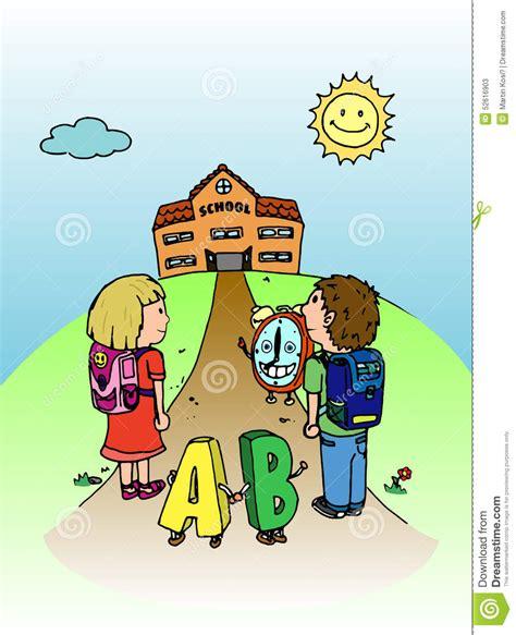 clipart bambini a scuola bambini vanno a scuola illustrazione illustrazione
