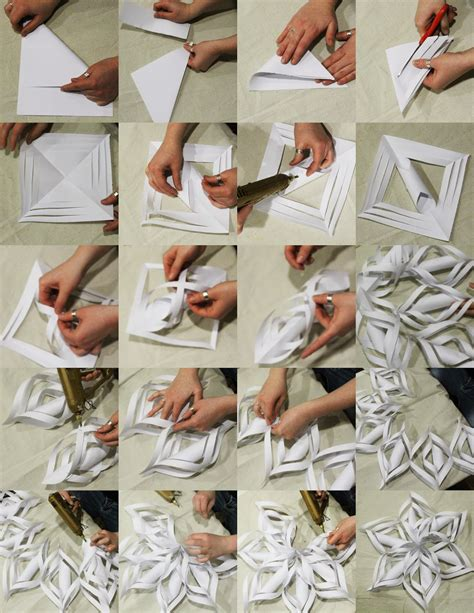 Paper Tutorial - how to make 3d paper snowflakes step by step