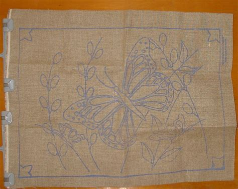 rug punch patterns preprinted butterfly burlap needle punch hooked rug base 23 quot x 30 quot pattern punchneedle supplies
