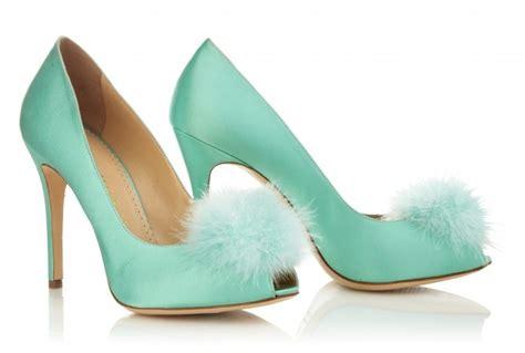 Blue Satin Wedding Shoes by Aqua Blue Satin Wedding Shoes With Feather Pom Pom