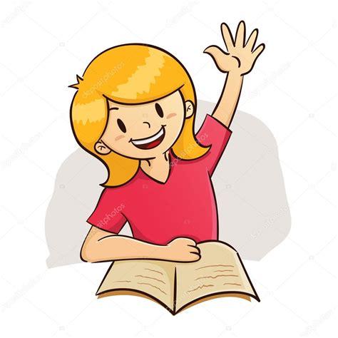 imagenes graciosas levantando la mano chica mano mientras estudio archivo im 225 genes vectoriales