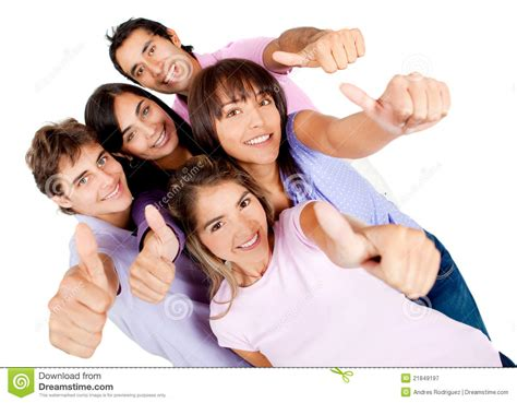what is the meaning of young people who have a grey streaks young people with thumbs up royalty free stock photography