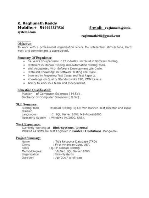 software testing resume for freshers sles testing resume sle for 3 years experience resume ideas